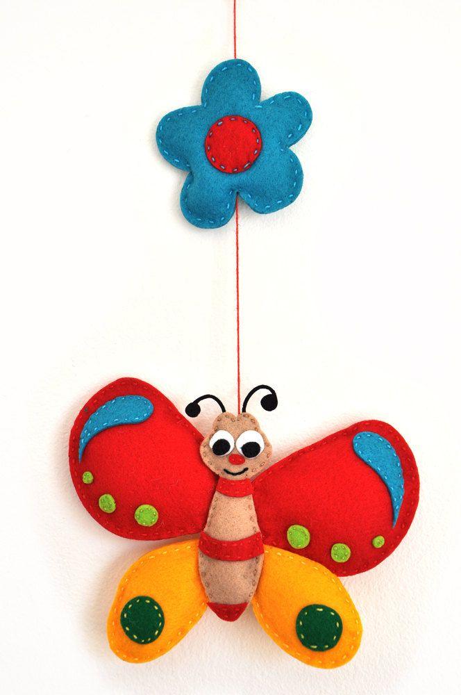 IKO Plush Butterfly Baby Mobile - Baby Crib Mobile - Nursery Butterfly Mobile - Felt Mobile - Colorful Butterfly Plush Stuffed. $