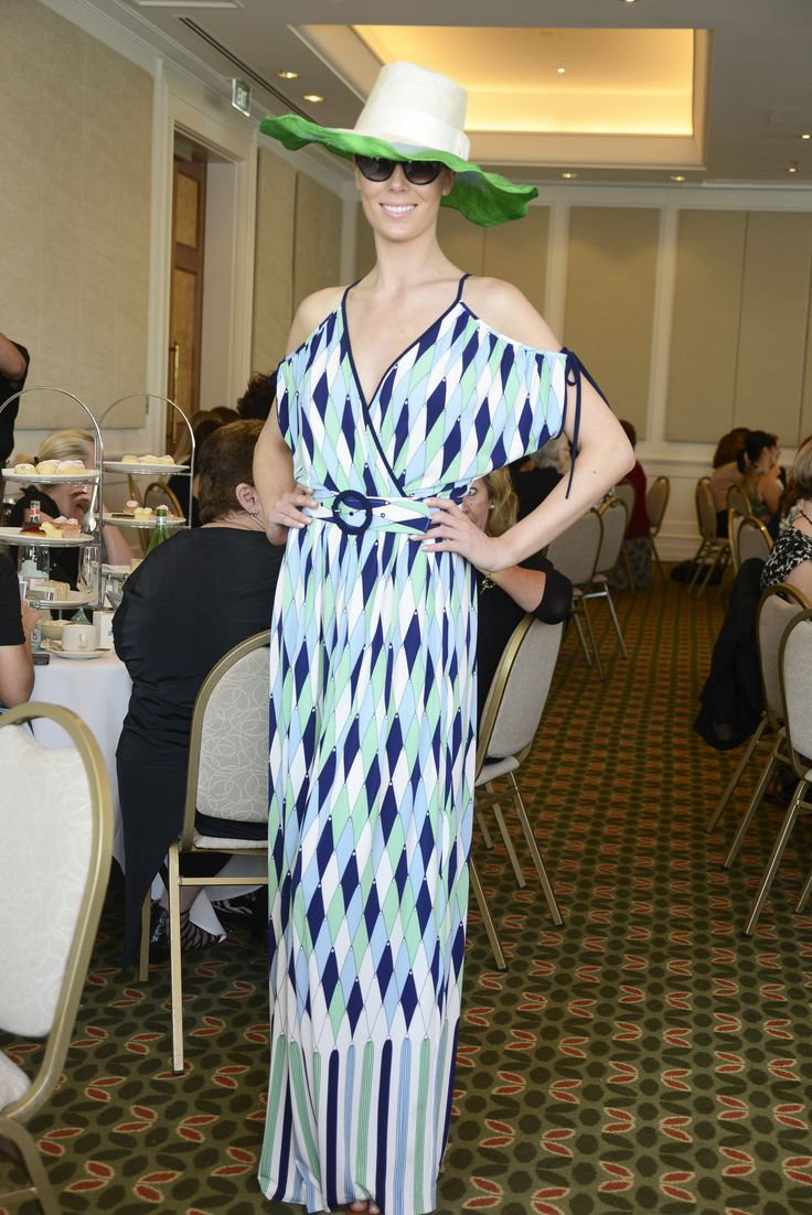 A beautiful maxi dress by Leona Edmiston and hat by Brisbane milliner Felicity Boevink were a hit at the High Tea