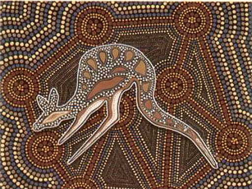 """artist unknown: Australian Aboriginal Art is the oldest living art tradition in the world, with paintings in rock shelters dating back over 20,000 years. The art includes naturalistic paintings of human, plant and animal figures, as well as non-naturalistic, or """"abstract"""" designs with concentric circles, """"u"""" shapes, and lines."""