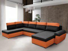 Rohová sedačka MORY KORNER XL levá, černá/oranžová