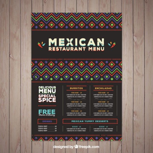 Plantilla de menú mexicano con formas étnicas Vector Gratis