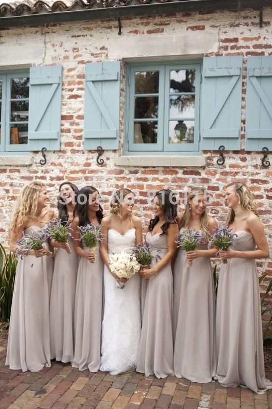 Свадьба ну вечеринку платья возлюбленной лиф шифон пола длинное серое платье невесты оптовая продажа фрейлина бесплатная доставка