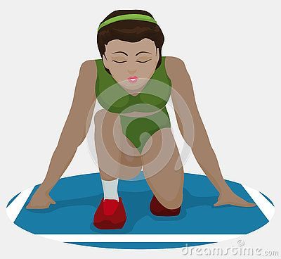 Beauty woman athlete in crouching position, ready to run and achieve a new goal…