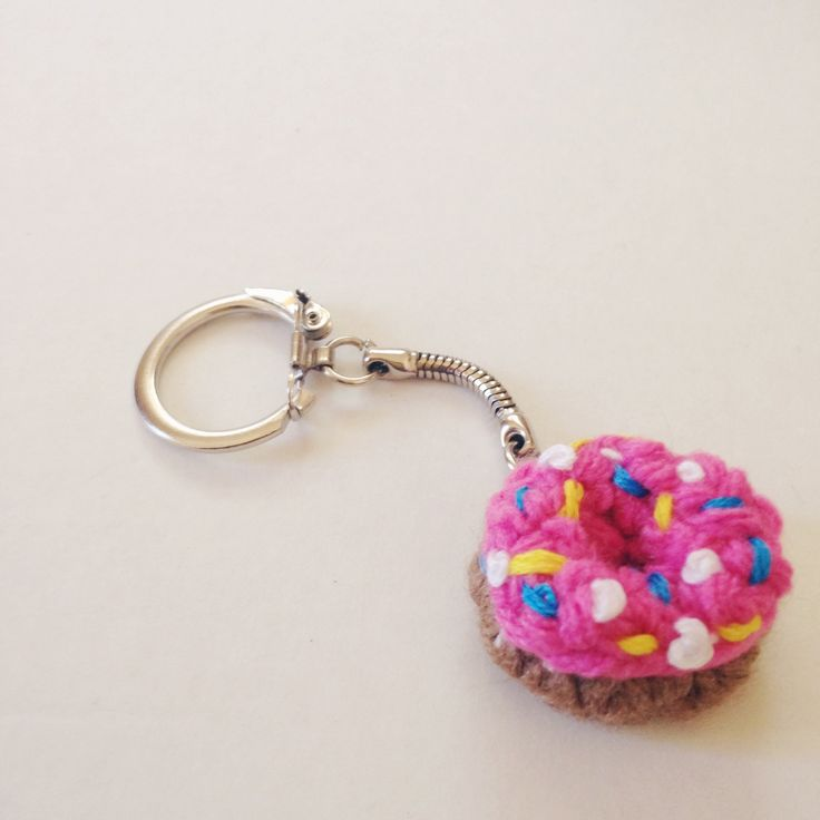 Mini Crochet Donut KeyChain DIY Free Pattern and Tutorial | Holiday Handmade MAKE IT! Gift Guide 2015 | Crochet | Sprinkle Donut | Kawaii |