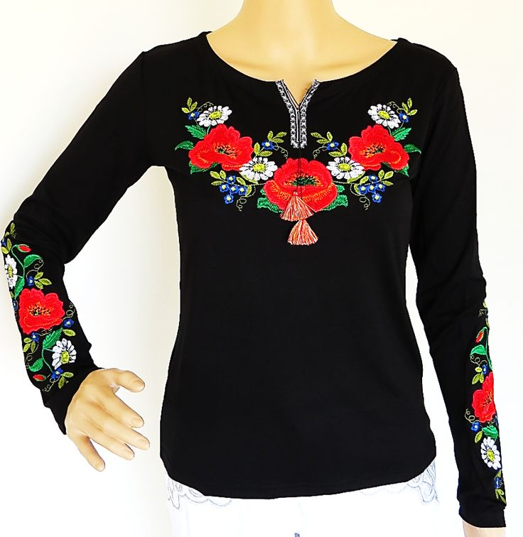 Ladies Embroidered Long sleeve Top Charivna