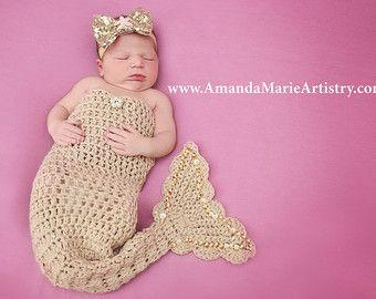 Princesa sirena - cola de sirena recién nacido Crochet & estrellas arco venda--traje de sirena recién nacido--sirena princesa-niña bodies
