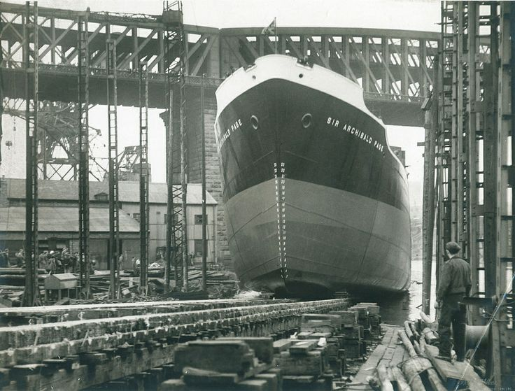 Launch of the cargo ship 'Sir Archibald Page' built by William Pickersgill & Sons Ltd, Southwick, 12 September 1950 (TWAM ref. DS.WP/4/PH/1/322/1).  Tyne & Wear Archives is proud to present a selection of images from its Sunderland shipbuilding collections. The set has been produced to celebrate Sunderland History Fair on 7 June 2014. It's a reminder of the thousands of vessels launched on the River Wear and the many outstanding achievements of Sunderland'...