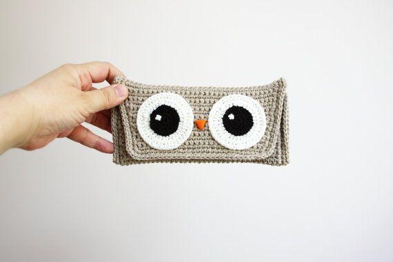Crochet Owl Pouch  Crochet Eye Glass Case  por daydreamsbymeri