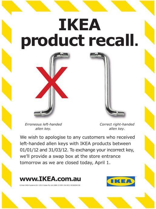 IKEA April Fool Ad: Keys, April Fools Pranks, Products Recal, Ikea Products, April Fools Day, Humor, Doctors, April Fools Jokes, Funnies Stuff