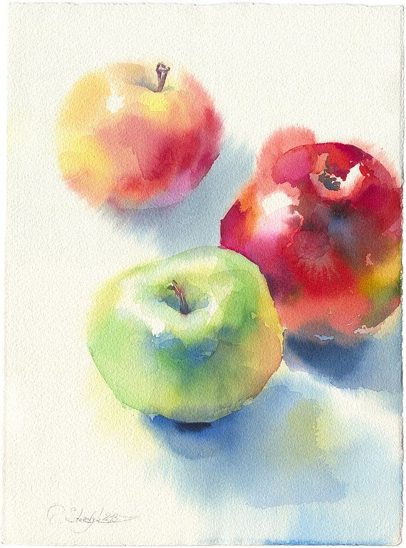 Apple-Malereidruck – Apfelaquarellfrucht, rustikaler Küchendekor, Küchendekorideen