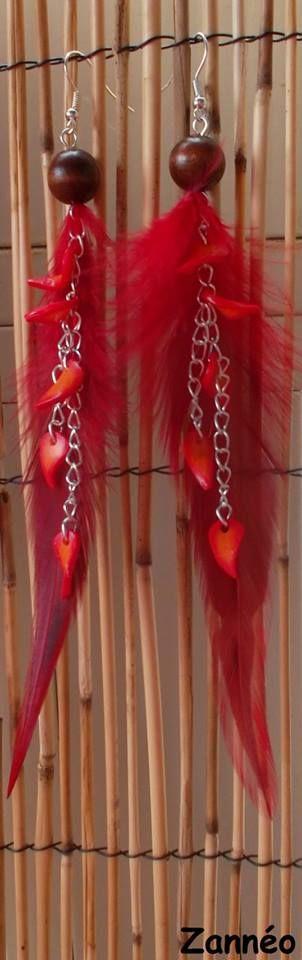 Boucles d'oreilles Zannéo Les sanguines Rouge flamboyante