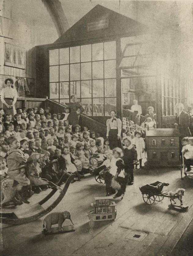 Children playing at a school in Merthyr Tydfil, Wales c. 1890s