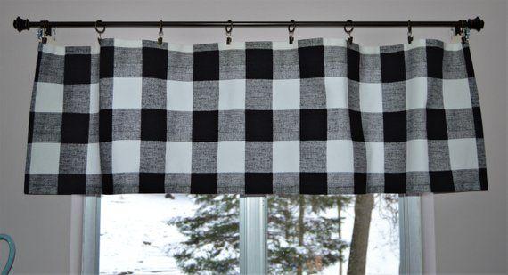 Black And White Buffalo Plaid Curtain Valance Premier Prints