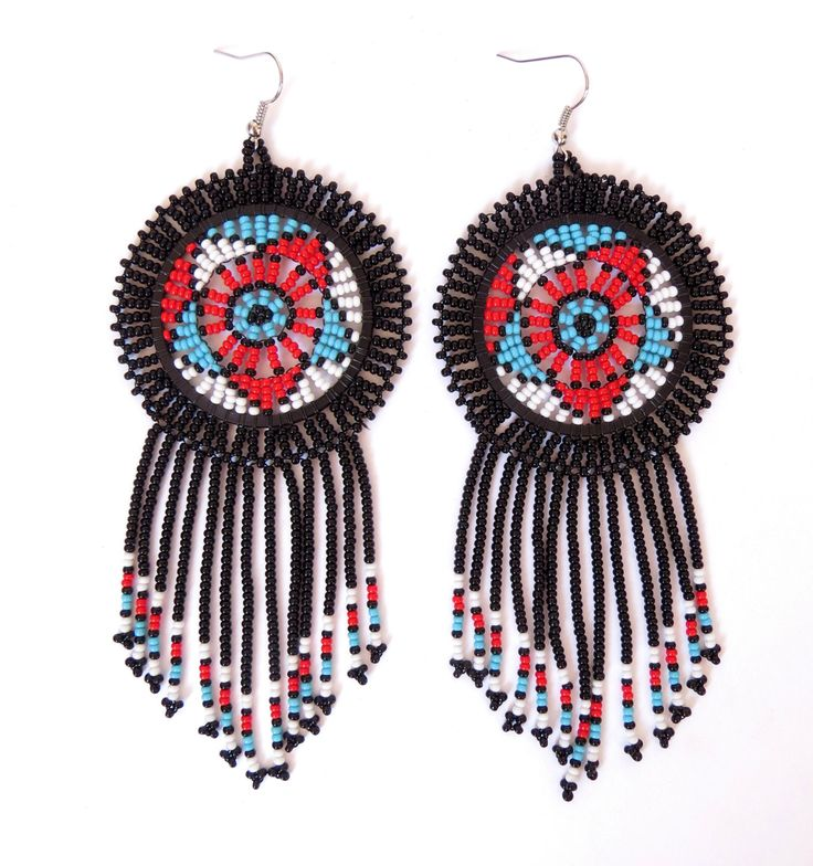 African Zulu beaded earrings - Dreamcatchers - Black/Red/Blue (Large) by GoneRuralSafariCurio on Etsy