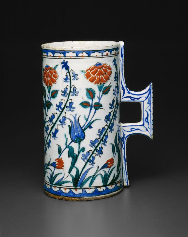Turkey Iznik Tankard (Hanap) with Tulips, Hyacinths, Roses, and Carnations, late 16th century