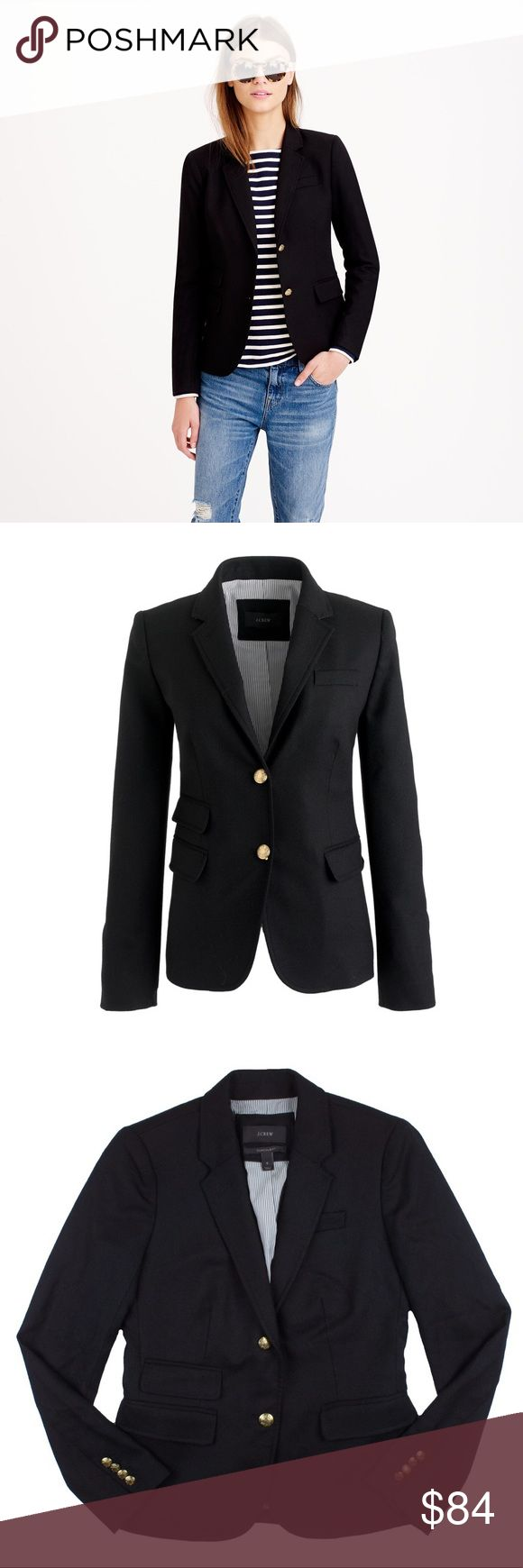 "JCREW Black Wool Schoolboy Blazer Jacket Absolutely excellent condition. Worn once - if that. This black wool Schoolboy blazer from JCREW features gold tone button closures, front pockets and is fully lined. Measures: bust: 35"", total length: 23"", sleeves: 24"" J. Crew Jackets & Coats Blazers"