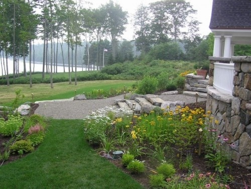 stone path: Company Landscape, Idea, Landscape Architecture, Landscape Design, Lakes Houses, Traditional Landscape, Photo, Yard Design, Lakefront Cottages