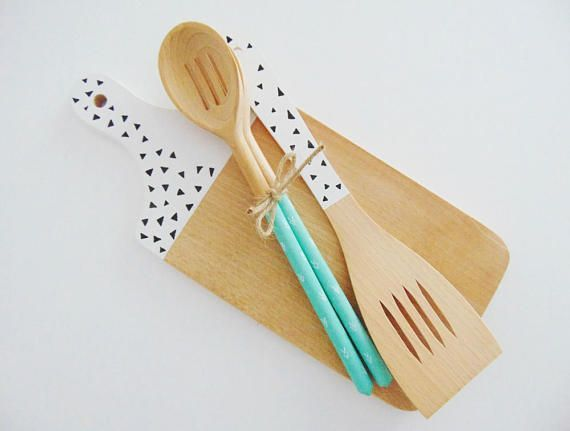 Paddle Cutting Board and Kitchen Utensil Set hand by SkandiDekor