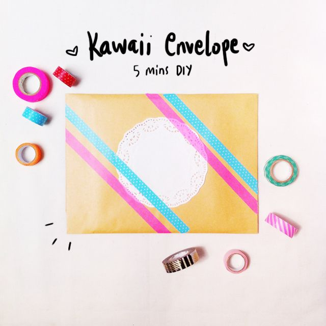 DIY Kawaii Envelope using washi tape and doilies