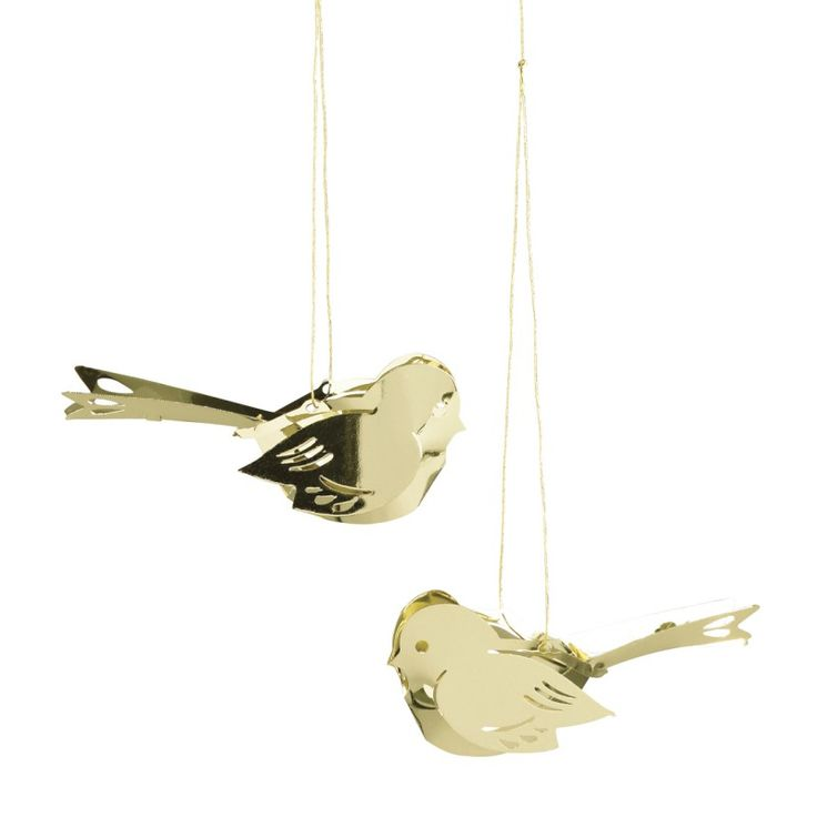 Miniature birds in gold pack of 2