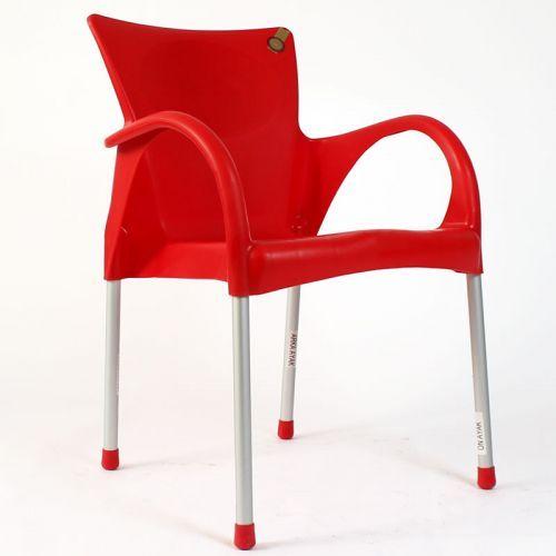 Sarıyer alüminyum ayaklı plastik sandalye kırmızı