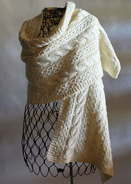 Quick Knit Coin Lace And Cable Wrap By Shui Kuen Kozinski - Free Knitted Pattern With Website Registration - (elann)