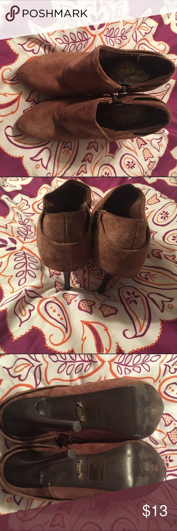 Fergie leather booties size 7.5 Suede material. Color is faded somewhat but you can't tell when wearing them. Bottoms in excellent condition Fergie Shoes Ankle Boots & Booties