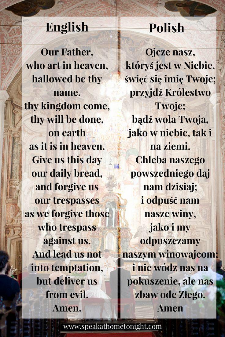 Our Father in Polish, pray in Polish, learn Polish, Polish prayer, Ojcze Nasz