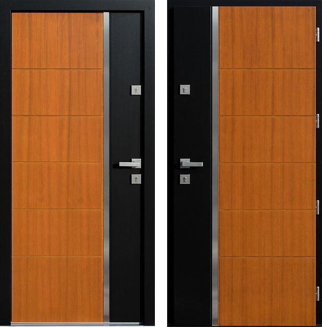 Drzwi wejściowe z aplikacjamii ze stali nierdzewnej inox wzór 430,8-430,18 złoty dąb + czarne