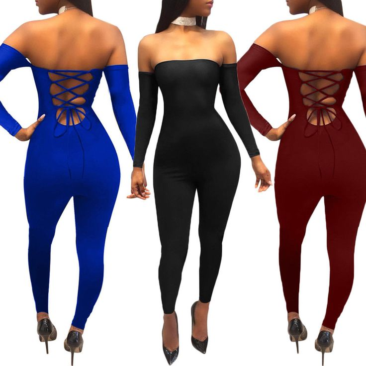Women Bodycon Playsuit Long Sleeve Backless Clubwear Sexy Lady Jumpsuit Romper