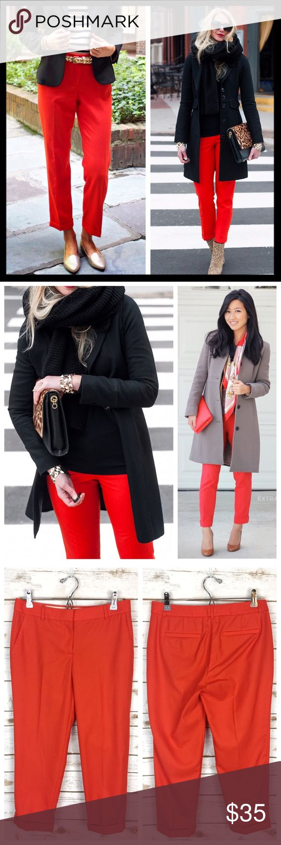 """j. crew // red wool cafe capri crop petite pants Introducing our wildly flattering wool café capri—now your favorite perfect-fitting pant can be worn all year long. Crafted in lightweight wool, it's the one piece you'll need to anchor your wardrobe for fall (and beyond). Fitted through hip and thigh, with a skinny, cropped leg. Wool. Cuffed. Gorgeous color, an orangey red. In great preowned condition, no flaws to note. Size is 4P (petite) with a 24"""" inseam. Waist measures 15"""" across lying…"""