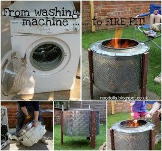 How to DIY Repurpose Broken Washing Machine into Fire Pit...