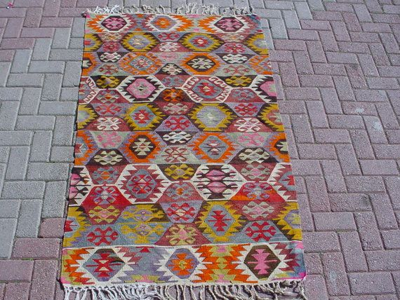 "VINTAGE Turkish Kilim Rug Carpet, Handwoven Kilim Rug, Antique Kilim Rug,Decorative Kilim, Natural Wool 40.5"" X 69.5''"