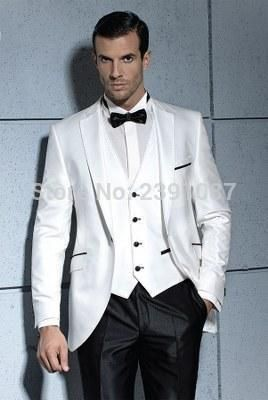 New Arrival 2016 One Button White and Black Groom Tuxedos Notch Lapel Groomsmen Best Man Wedding Prom Dinner Suits (Jacket Pants Vest Tie).jpg