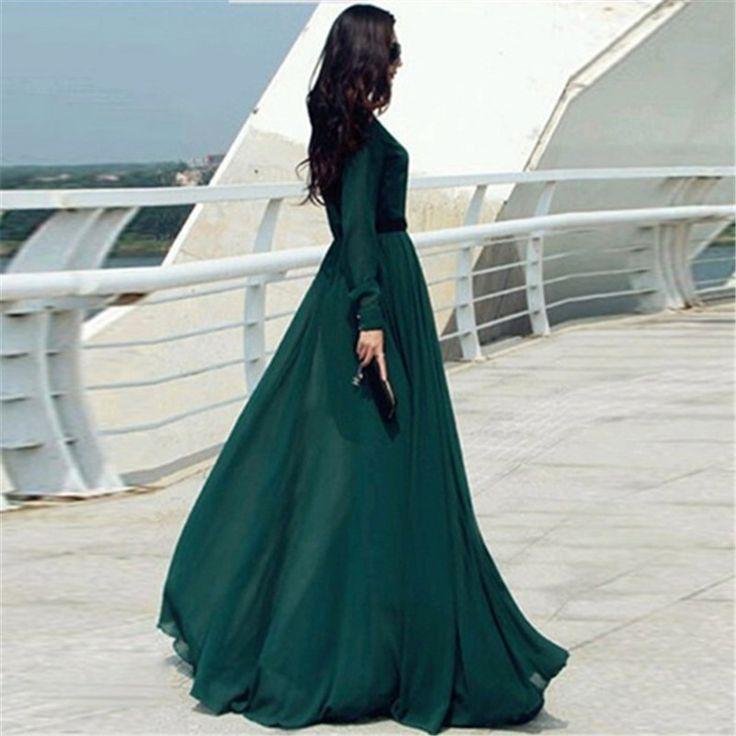 #Fashion #Style #2015 #Women #Long #Casual #Dresses #Solid #Green #Elegant #Party #Evening #Stand #Collar #Long #Sleeve