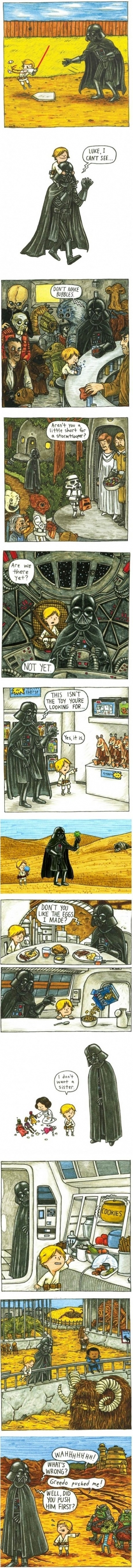 Hahaha if darth had to raise luke haha funny comic well done