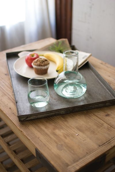 Recycled Clear Glass Carafe and Drinking Glass - Click to shop home decor accents at Hudson and Vine. Stylish drinkware for your rustic, industrial, farmhouse or modern home decorating style. Orders over $100 ship free.