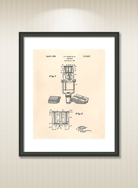 This reproduction was digitally restored and in some cases altered to remove defects or unwanted artifacts present in the original #patent document.  Buy more and save! Buy ... #patentart #art #print #gift #digital #download #instant #printable #vintage #music #microphone