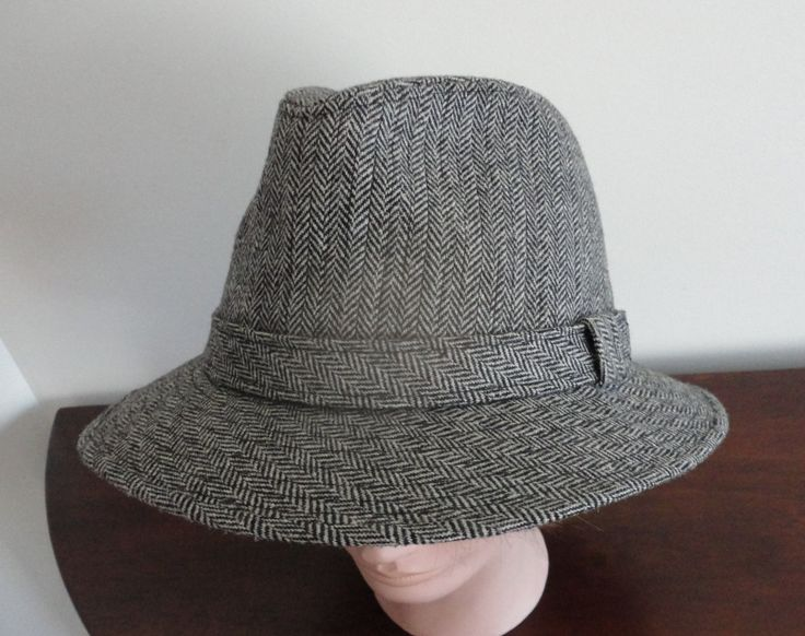Vintage Grey Wool Blend Felt  Men Hat Size 7 1/8, 57 cm,  22 1/4  inches Paris Elegance Made in France by LoukiesWorld on Etsy