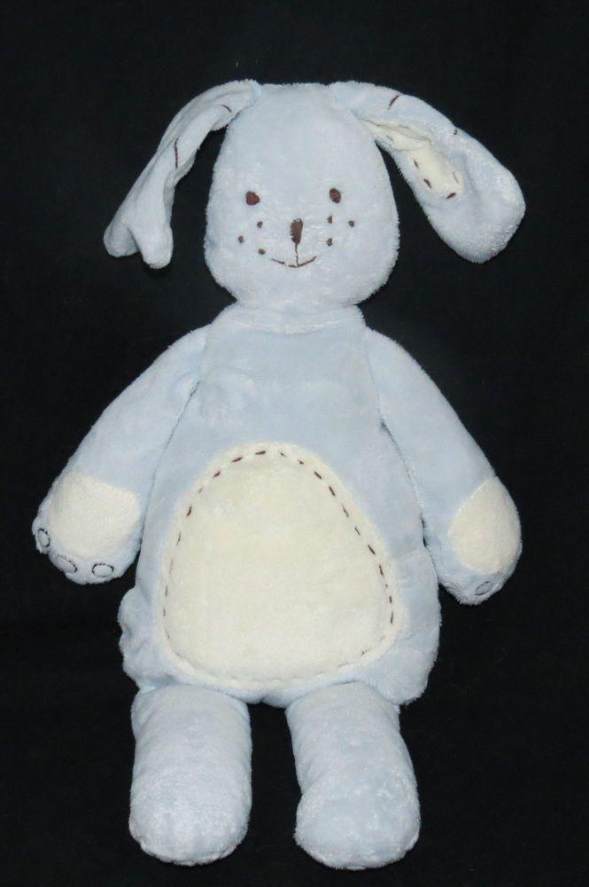 Pottery Barn Kids Blue Bunny Rabbit Puppy Dog Baby Stitched Plush