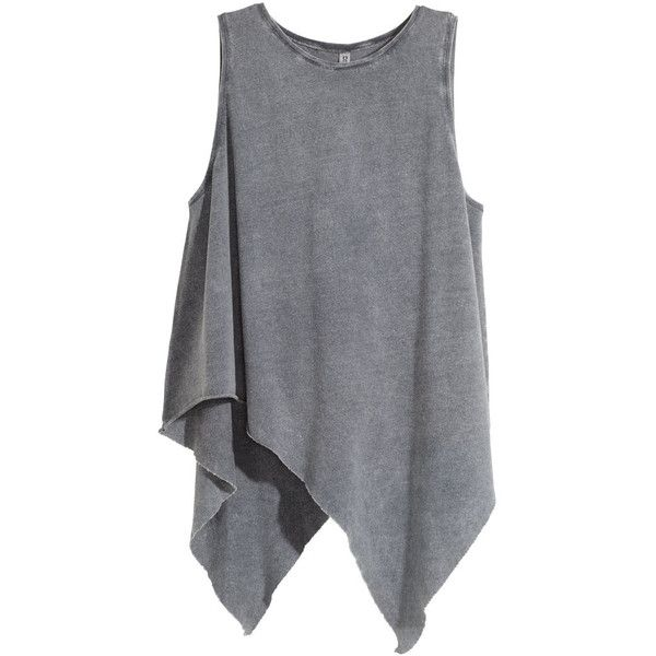 H&M Draped top (€17) ❤ liked on Polyvore featuring tops, shirts, h&m, grey, grey sleeveless shirt, jersey tops, sleeveless jersey, sleeveless tops and asymmetrical top