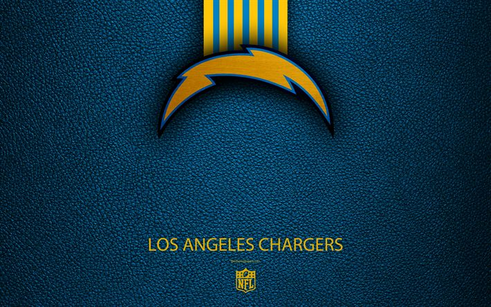 Download wallpapers Los Angeles Chargers, 4k, American football, logo, emblem, Los Angeles, California, USA, NFL, red leather texture, National Football League, Western Division