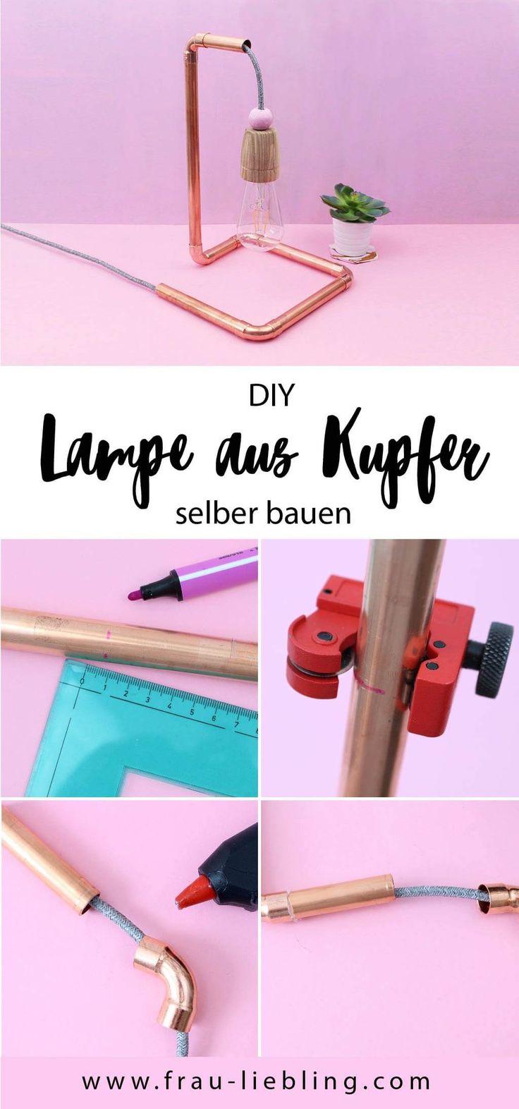 DIY Deko für dein Zuhause: So baust du eine stylische Lampe aus Kupferrohr und Textilkabel ganz einfach selber.