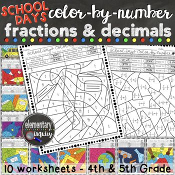 Practice fractions and decimals skills with these 10 leveled color-by-number worksheets. Each page features a different skill, such as identifying equivalent fractions, comparing fractions and decimals to benchmark numbers, and adding and subtracting fractions with like or unlike denominators.