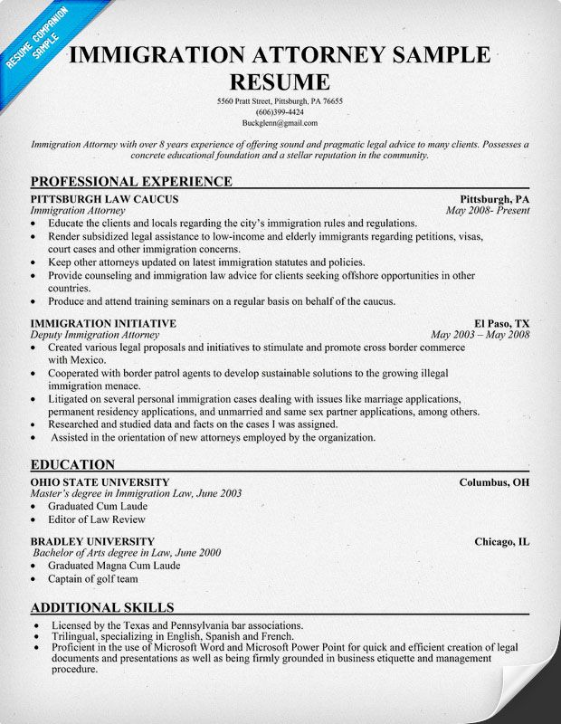 Immigration Attorney Resume - Law (resumecompanion) Resume - physiotherapist resume sample