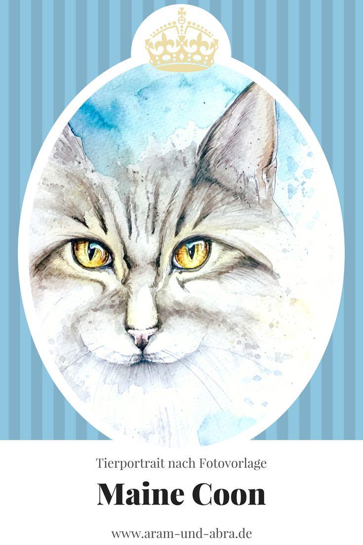 Zeichnung Katze - Maine Coon - Aquarell - Aram und Abra
