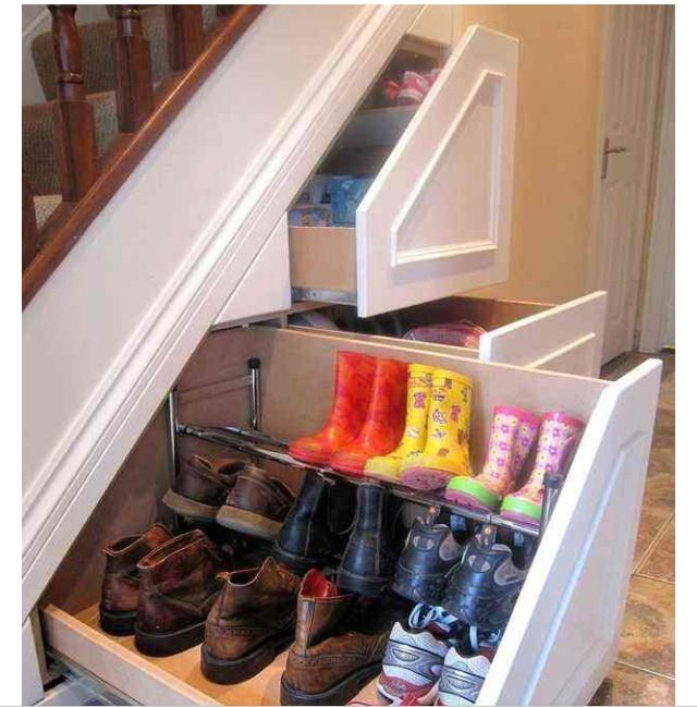 Great idea for storage for all the shoes in the home. Organized and hidden away