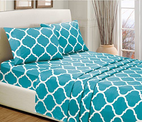 4-Piece KING size, TURQUOISE BLUE Quatrefoil Print Bed Sheet Set-Super Soft-High Thread Count Double Brushed Microfiber-1500 HOTEL LUXURY Series -SALE-Wrinkle, Fade, Stain Resistant - Deep Pockets