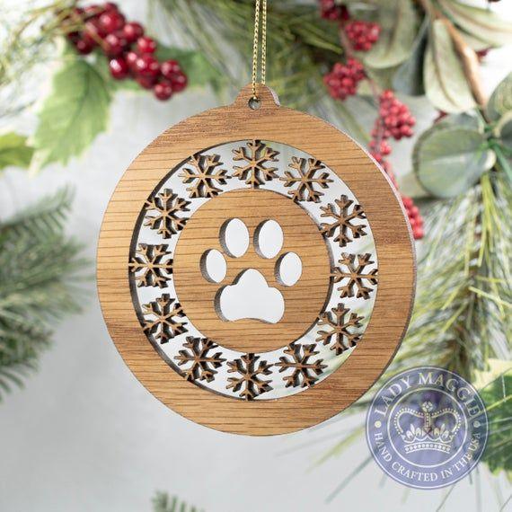 MDF Laser Cut Snow Globe Bauble Christmas Tree Decoration Cat