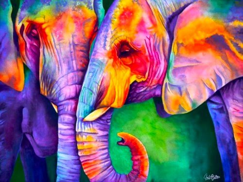 Rainbow elephants! When ever I see an elephant I think of my grandpa who is the best ever! He is my hero the one I look up to! Love you papa! I am thankful for you